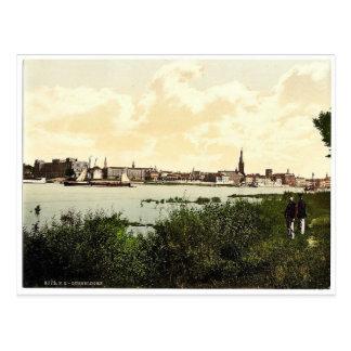 Dusseldorf vom Rhein, der Rhein, Deutschland clas Postkarte