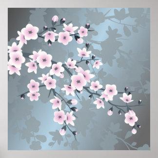 Düstere rosa grauliche blaue Kirschblüten Poster