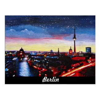 Düstere Skyline von Berlin Deutschland mit Sternen Postkarte