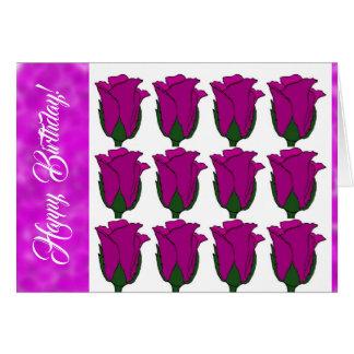 Dutzend tiefpurpurne Rosen-Geburtstags-Karte Karte