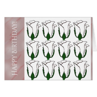 Dutzend weiße Rosen-Knospen-Geburtstags-Karte Karte