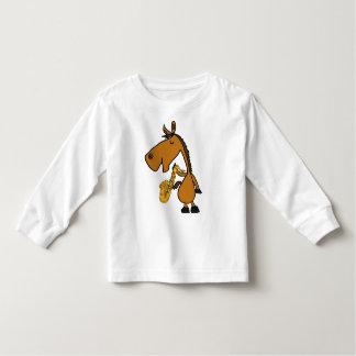 DY, cooles Pferde-und Saxophone-Shirt T Shirt