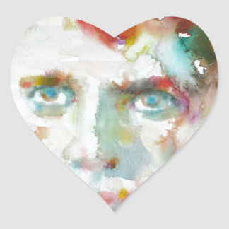 Dylan Thomas - Aquarell portrait.1 Herz-Aufkleber