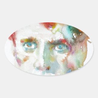 Dylan Thomas - Aquarell portrait.1 Ovaler Aufkleber