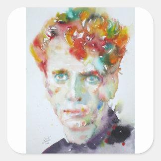 Dylan Thomas - Aquarell portrait.1 Quadratischer Aufkleber
