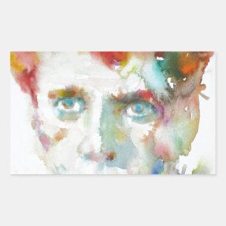 Dylan Thomas - Aquarell portrait.1 Rechteckiger Aufkleber