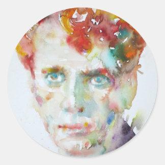 Dylan Thomas - Aquarell portrait.1 Runder Aufkleber