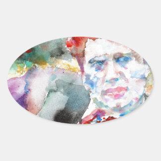 Dylan Thomas - Aquarell portrait.2 Ovaler Aufkleber