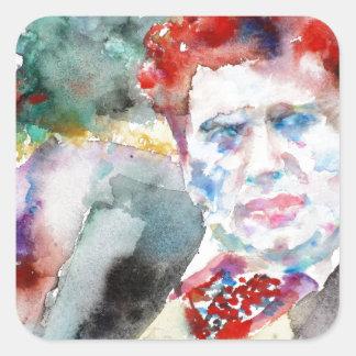 Dylan Thomas - Aquarell portrait.2 Quadratischer Aufkleber