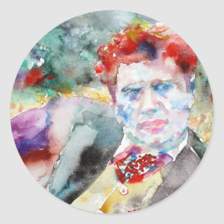 Dylan Thomas - Aquarell portrait.2 Runder Aufkleber