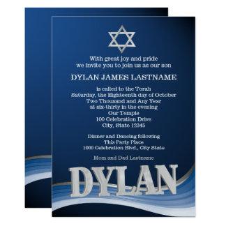 Dylanstahlwellen-Namen-Bar Mitzvah Karte