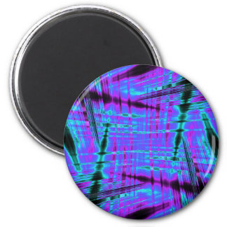 Dynamisches Blau gestreiftes Muster Runder Magnet 5,7 Cm