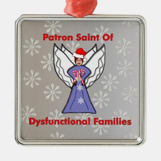 Dysfunktioneller Familien-Engel Quadratisches Silberfarbenes Ornament