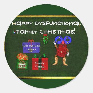 Dysfunktionelles Familien-Weihnachten Runder Aufkleber