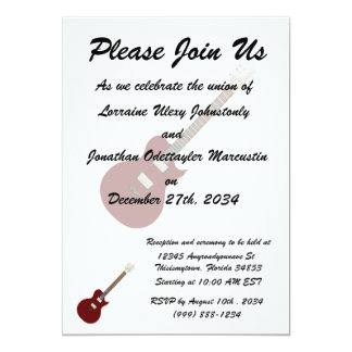 E-Gitarre burgundy.png 12,7 X 17,8 Cm Einladungskarte