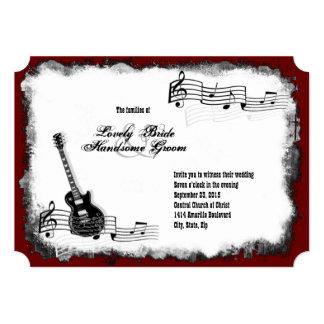 E-Gitarren-schwarze rote Musik-Hochzeits-Einladung 12,7 X 17,8 Cm Einladungskarte