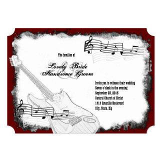 E-Gitarren-schwarze rote weiße Musik-Hochzeit 12,7 X 17,8 Cm Einladungskarte