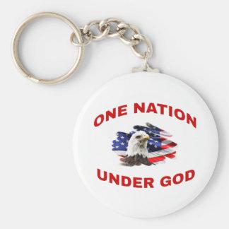 Eagle auf Nation der Flaggen-eine unter Gott Schlüsselanhänger