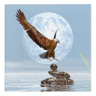 Eagle, das auf ausgeglichenen Steinen landet - 3D Acryl Wandkunst