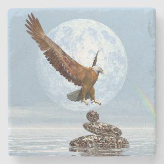 Eagle, das auf ausgeglichenen Steinen landet - 3D Steinuntersetzer