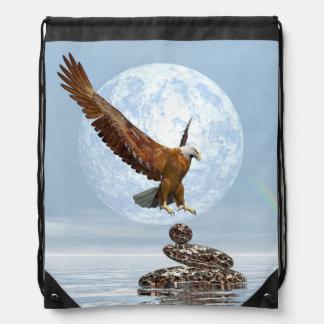 Eagle, das auf ausgeglichenen Steinen landet - 3D Turnbeutel