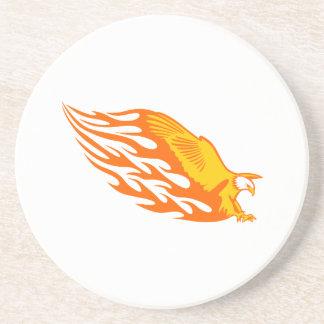 Eagle in den Flammen Sandstein Untersetzer