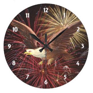 Eagle und Feuerwerks-Uhr Große Wanduhr