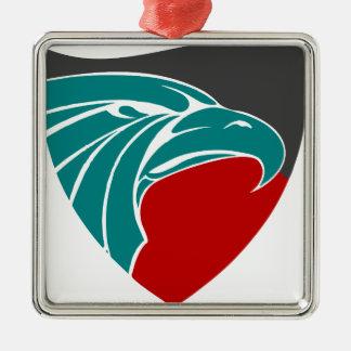 Eaglestärke und -stolz quadratisches silberfarbenes ornament