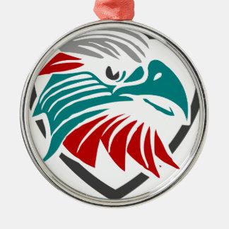 Eaglestolz und -schutz rundes silberfarbenes ornament