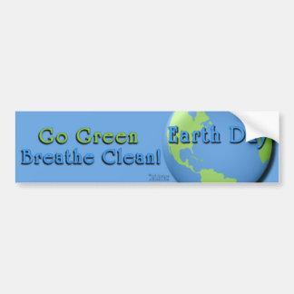 EarthDay Blau: Gehen Grün, atmen sauberes! Autoaufkleber