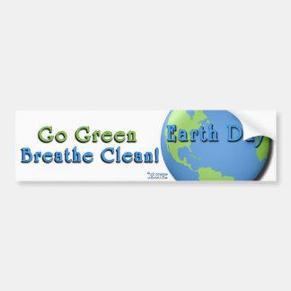 EarthDay Weiß: Gehen Grün, atmen sauberes! Autoaufkleber