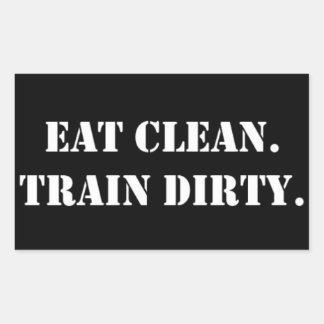 Eat Clean. Train Dirty. Rechteckiger Aufkleber