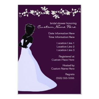 Ebenholz-Braut-kundenspezifisches Brautparty lädt 12,7 X 17,8 Cm Einladungskarte