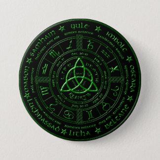 Ebenholz-keltischer Tierkreis-Smaragdknopf Runder Button 7,6 Cm