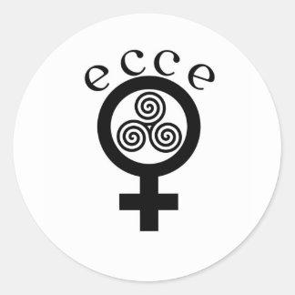 Ecce Femina klassische runde Aufkleber