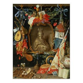 Ecclesia umgeben durch Symbole der Eitelkeit Postkarte