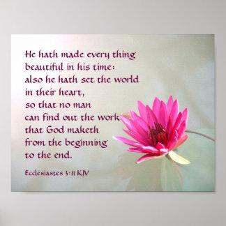 Ecclesiastes 3:11 alles schön in seiner Zeit Poster