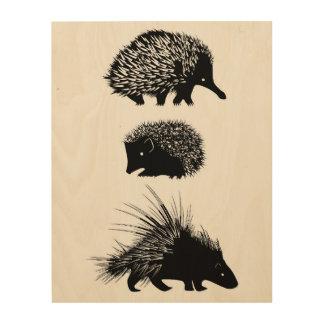 Echidna, Igel, Stachelschweinwandkunst Holzleinwand