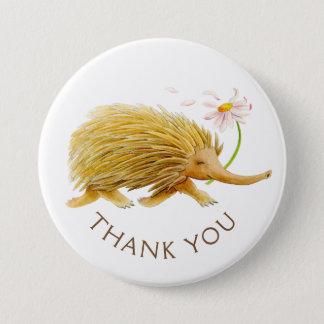 Echidna Watercolortier danken Ihnen/Abzeichen zu Runder Button 7,6 Cm