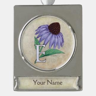 Echinacea-personalisiertes Blumen-Monogramm Banner-Ornament Silber