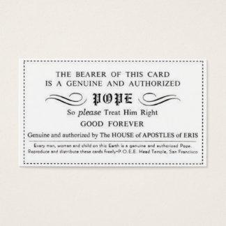 echte zugelassene Papstkarte Visitenkarte