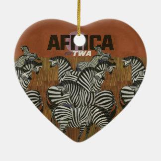 Echter Zebra-Vintage Plakat-Afrika-Reise Keramik Ornament