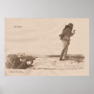"""Echter zeitgenössischer """"Sur le Front"""" 1914 - WW1 Plakate"""