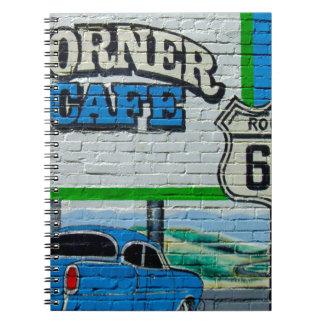 Eckcafé-Wand des Weg-66 Notizblock