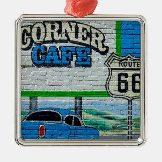 Eckcafé-Wand des Weg-66 Silbernes Ornament