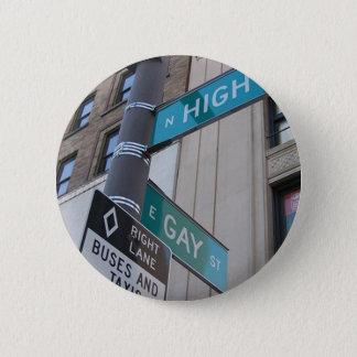 Ecke der homosexuellen und Hautpstraßen Runder Button 5,7 Cm