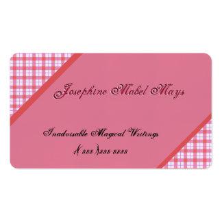 Ecke verschönert mit rosa Gingham Visitenkarten