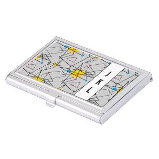 Eckiges geometrisches Retro Muster Visitenkarten-Schatulle