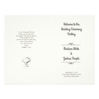 Ecru Herzen gefaltete Wedding Programm-Schablone 21,6 X 27,9 Cm Flyer