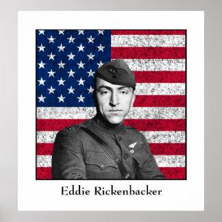 Eddie Rickenbacker und die amerikanische Flagge Poster
